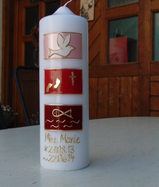 10075 Maria rot-gold Taufkerze
