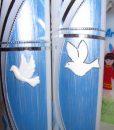 10034 Füsschen in blau Taufkerze